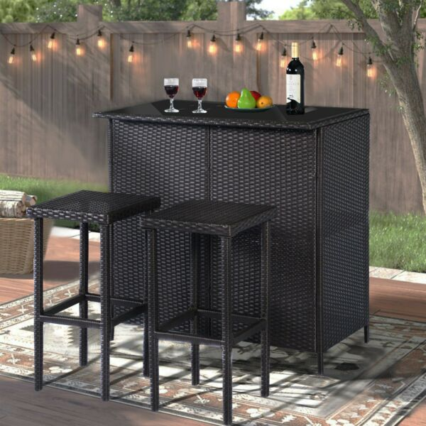 MCombo Patio Bar SetWicker Outdoor Table and 2 Stools3 Piece Furniture 1201BK $229.99