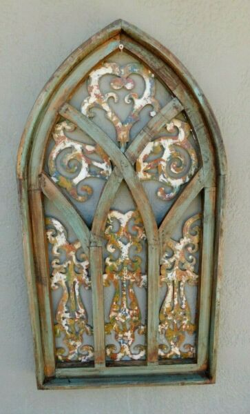 Wooden Antique Style Church WINDOW Frame Primitive Wood Gothic 31quot; GREEN