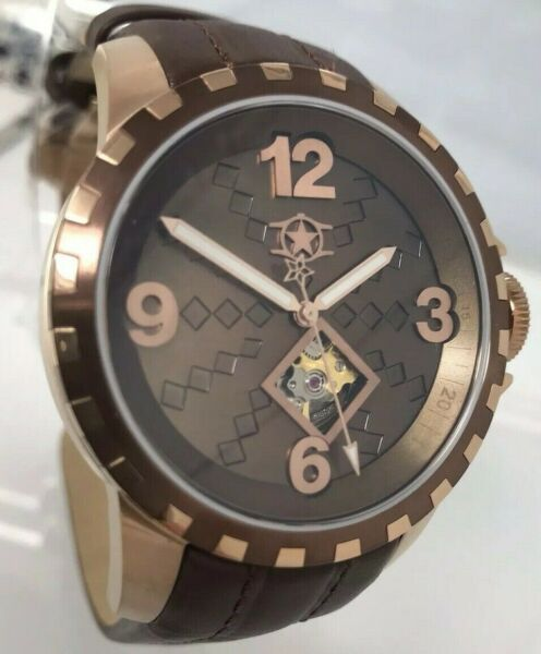 New Watchatar Bellissimo Star Cigar Brown Automatic Open Heart Pearl Watch