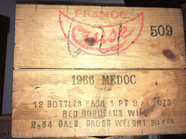 1966 Wine Box Case Wooden Crate  Medoc Red Bordeaux  BOX  #509 4.5