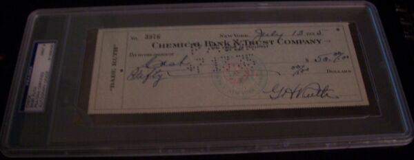 Babe Ruth double autograph check front and back PSA 9 mint July 13th 1935 RARE