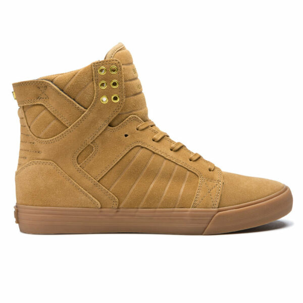 Supra Men's Skytop Hi Top Sneaker Shoes Tan Brown Lt Gum Footwear Casual