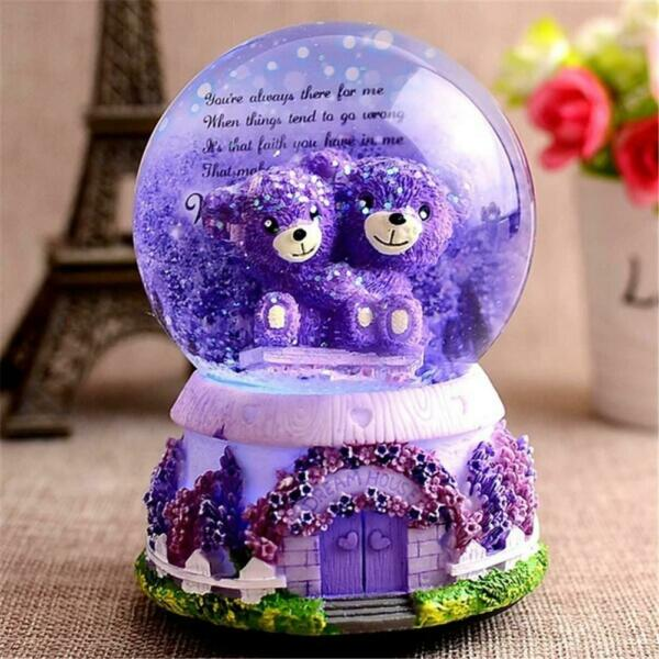Bear Floating Snow Globe Crystal Ball Automatic Play Music Box with Lights Gifts