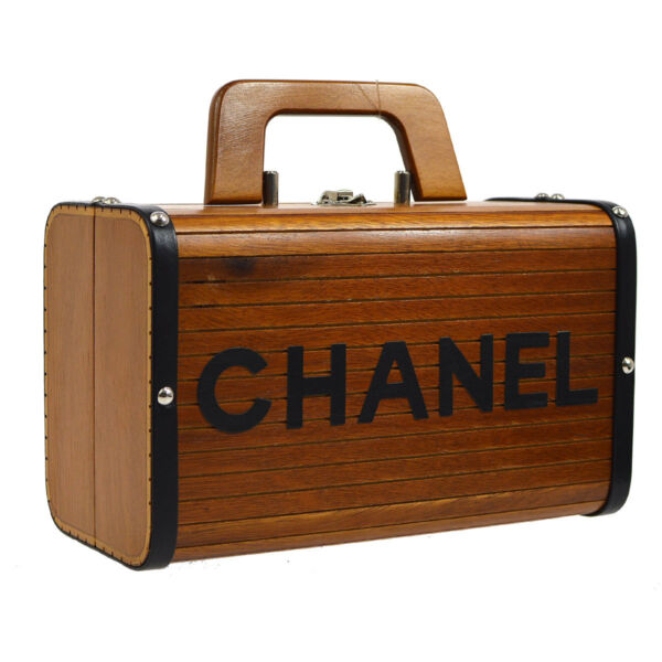 Auth CHANEL CC Box Vanity Hand Bag Brown Black Wooden Leather Vintage JT06845