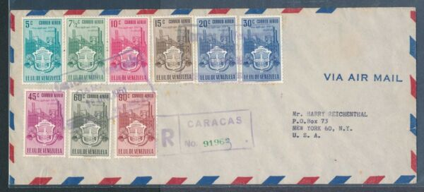 Venezuela Carabobo Coat of Arms set of 9 on 1951 registered cover to US