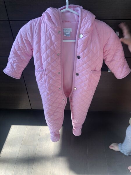 Ralph Lauren Snowsuit Baby Girl Light Pink Quilted Bunting Infant 9 Months