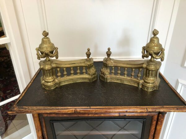 FINE PAIR FRENCH ANTIQUE BRASS BRONZE ORMOLU LOUIS XVI CHENETS ANDIRONS 18th.C