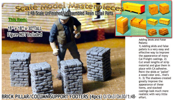 Scale Model MasterpiecesYorke Brick PillarColumn Support Footers On30