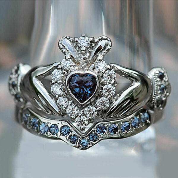 3Ct Heart Cut Blue Sapphire Diamond Claddagh Bridal Set Ring 14K White Gold Over