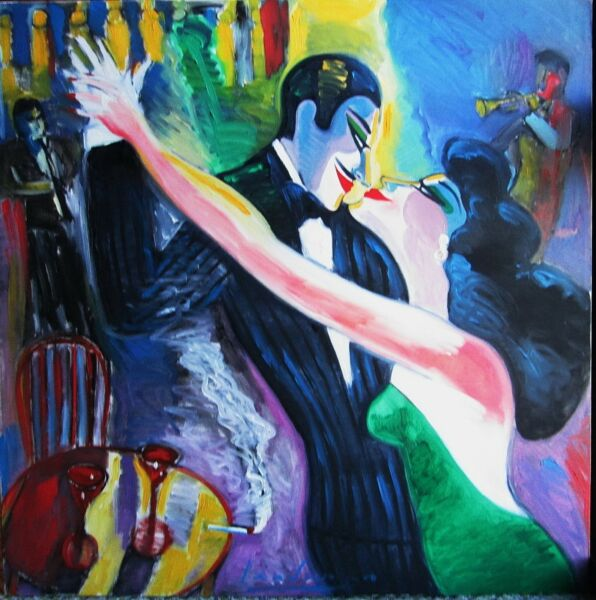 EARL LINDERMAN I COULD DANCE ALL NIGHT OILCANVAS 36x36 ARTIST SIGNED 5 TIMES