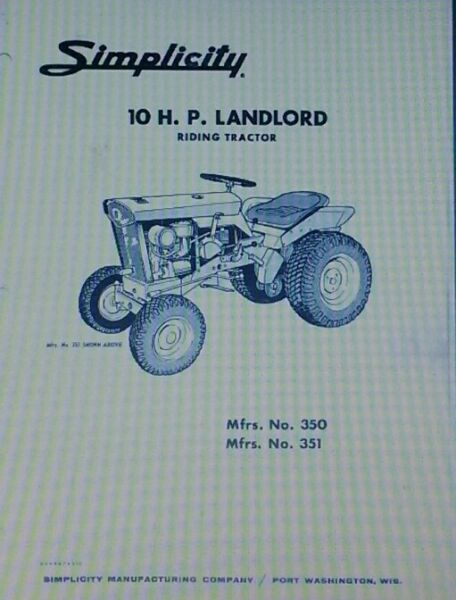 Simplicity Landlord Tractor Plow amp; Snow Thrower Owner amp; Parts 3 Manuals 42pg