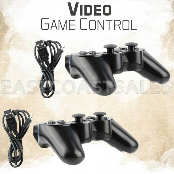 2x Black Wireless Bluetooth Video Game Controller Pad For Sony PS3 Playstation 3