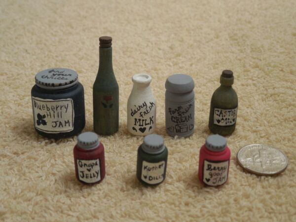 8 Piece Lot Of Hand Painted Mini Wooden Bottles For Dollhouse Kitchen