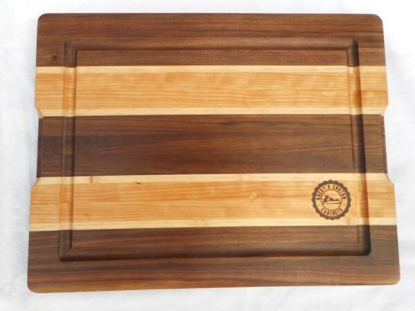 Handcrafted Cutting Board Produced with Black Walnut Cherry & Maple Wood