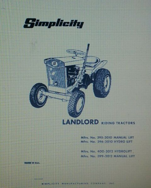 Simplicity Landlord Garden Tractor amp; Snow Thrower Owner amp; Parts 2 Manuals 42pg