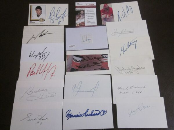 HOF COLLECTION OF 129 AUTOGRAPHED INDEX CARDS-ALL HOF-NO DOUBLES-DECEASED-
