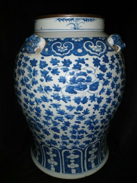 Huge Antique Chinese Vase floral Blue and White Glazed Pottery Foo lions 28lbs