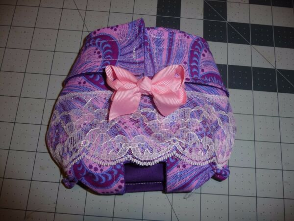 Purple Pink Paisley Dog Female Diaper Panty Exchangable Bow Carols Crate Covers $10.99