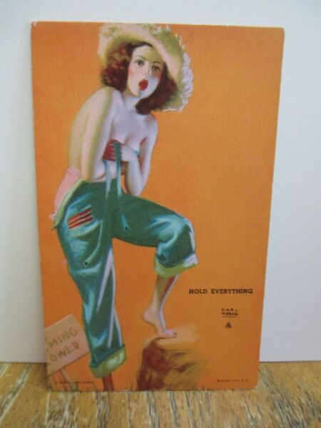 "Earl Moran Mutoscope Arcade Pin-Up Card ""Hold Everything"