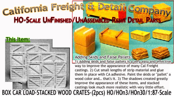 Scale Model MasterpiecesYorke BOX CAR LOAD-STACKED WOOD CRATES HO