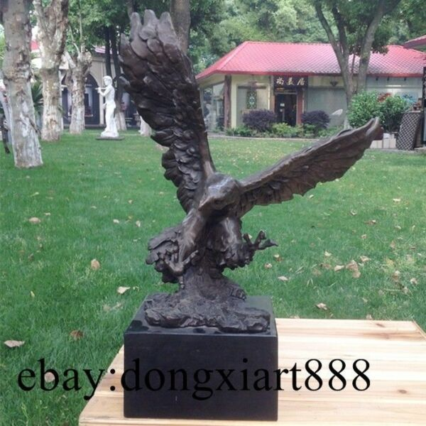 50 CM West Art Deco Pure Bronze Marble Hawk Eagle Falcon Spread Wings Sculpture