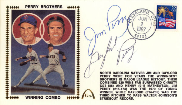 Gaylord Perry & Jim Autographed First Day Cover Perry Brothers Beckett E48741