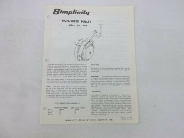 Simplicity Landlord 725 700 No. 348 Two Speed Pulley Owners Manual amp; Parts List