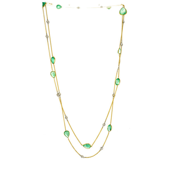 Vintage 30.00ct Emerald Diamond By The Yard Style 18k Long Chain Necklace