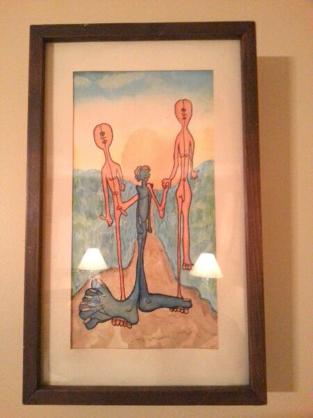 Bindell Watercolor Nude Alien Family- Abstract-  Original- 1972