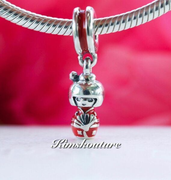 Authentic Pandora Japanese Doll Sterling Silver Charm 791368EN09
