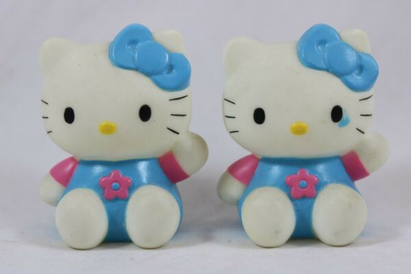 HELLO KITTY Blue Overalls Bow Pink Flower Shirt 3quot; Hollow Figure Sanrio Lot of 2