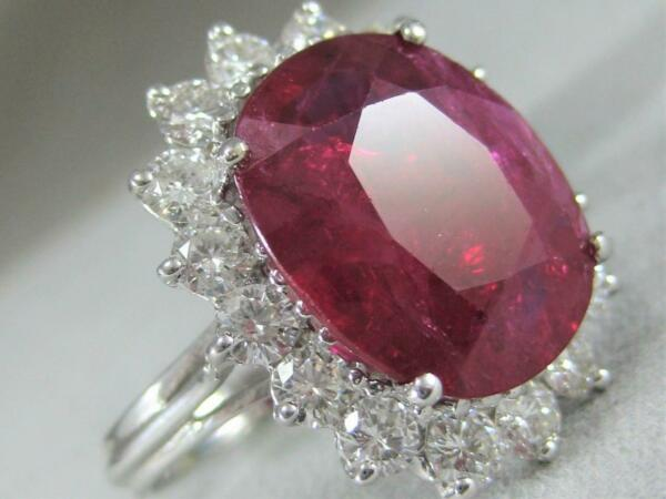 ESTATE 10.34CT DIAMOND RUBY 18K WHITE GOLD HALO COCKTAIL ENGAGEMENT RING E1373.1