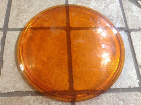 KOPP Vintage AMBER Glass LENS Old Signal LIGHT Traffic Lantern LAMP
