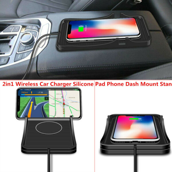 2in1 QI Wireless Car Charger Silicone Pad Phone Dash Mount Stand Charging Mat