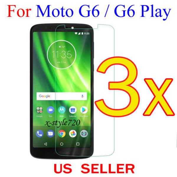3x Clear LCD Screen Protector Guard Cover Shield For Motorola Moto G6  G6 Play