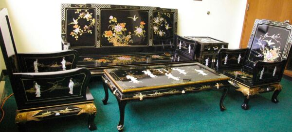 Oriental living room set furniture sofa set black lacquer mother of pearl $3595.00