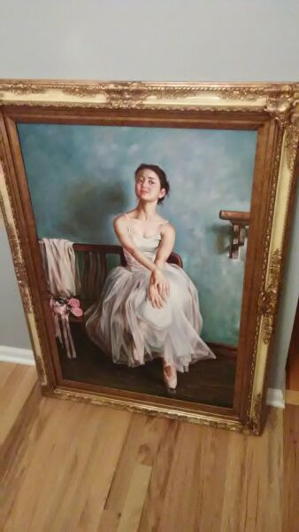 Large Oil Painting on Canvas w Frame-Signed by Artist