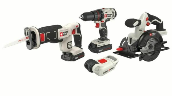 Battery Operated 4 Power Tool Combo Kit Set Drill Driver Circular Saw Light