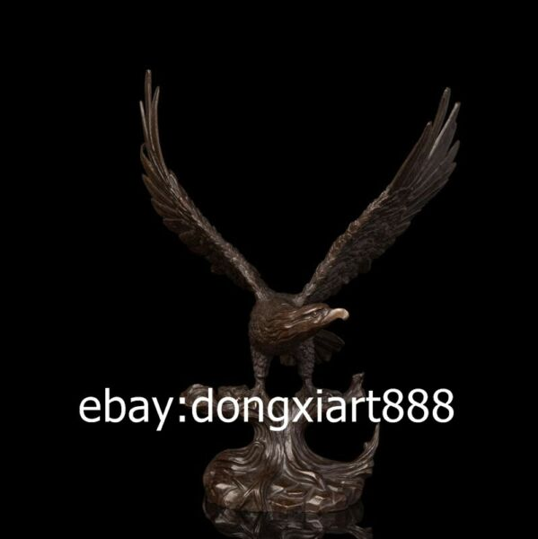 36 CM Western Art Deco Pure Bronze Wing Lanneret Hawk Eagle Falcon Art Sculpture