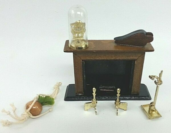 Dollhouse Miniature Fireplace & Accessory Set Bellow Andiron