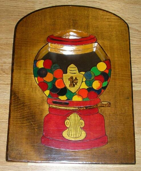 GUMBALL MACHINE ONE CENT HAND CRAFTED PYROGRAPHY WOOD MIRROR ARTISAN PAINTING