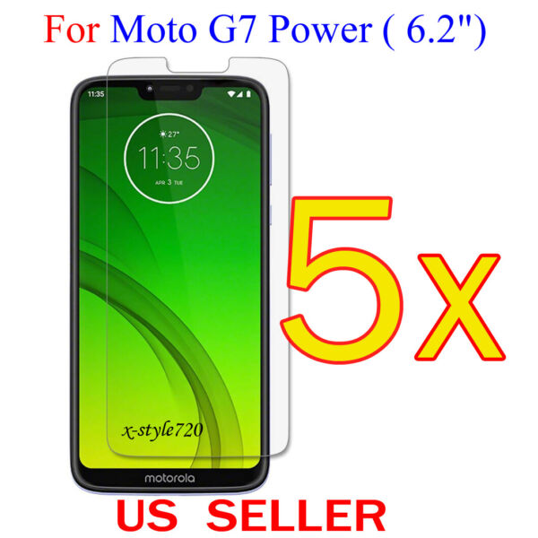 5x Clear LCD Screen Protector Guard Cover Film For Motorola Moto G7 Power (6.2