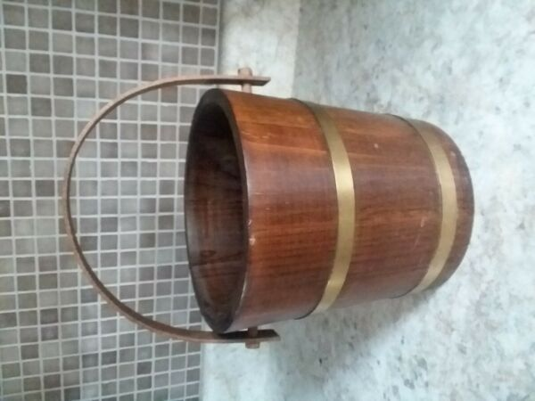Vintage  Wooden Bucket Made from Slat Brass Bands Wood Handle $39.99