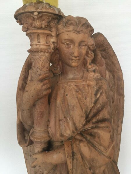 RELIGIOUS FIGURE STATUE OF ALTAR ANGEL 19th C -  XIXs -  FRENCH CATHEDRAL ART