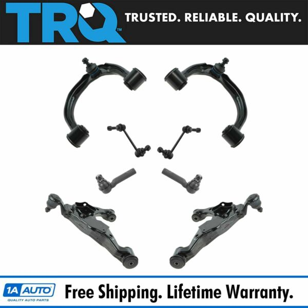 TRQ Control Arm Ball Joint Sway Link Tie Rod Steering Suspension Kit Set 8pc