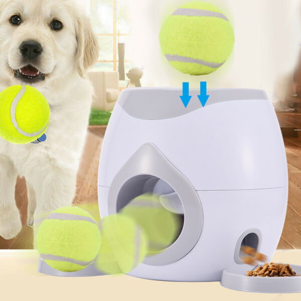 Automatic pet dog launcher tennis toy interactive take-up disc thrower feeder