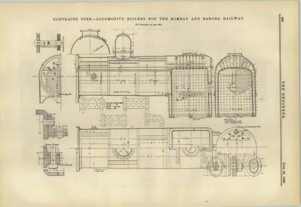 1883 Locomotive Boilers For The Bombay And Baroda Railway Contract Plan GBP 10.00