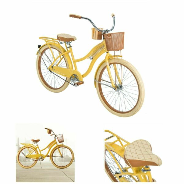 Womens Cruiser Bike 26 Vintage Beach Bicycle Basket Ladies Cruising Road Cruiser