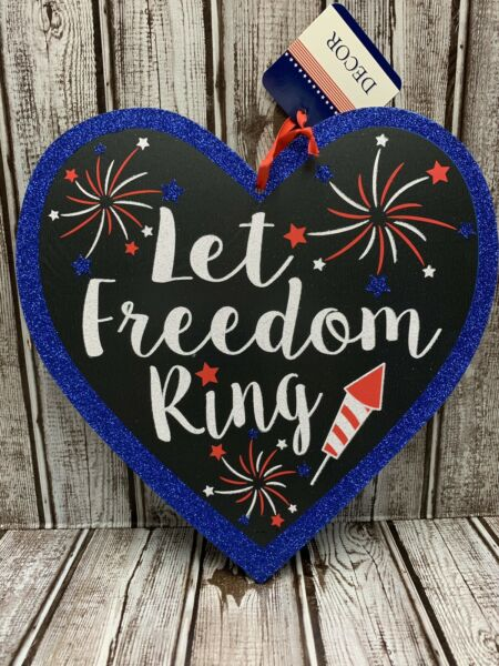Patriotic Americana July 4 Door Wall Hanging Wreath Sign Glitter Party Decor 11