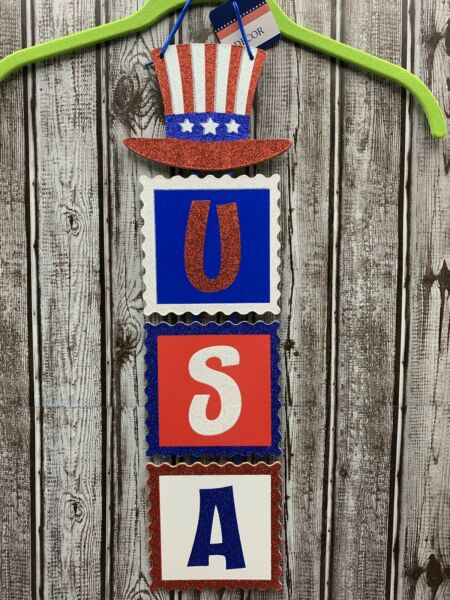 Patriotic Americana July 4 Door Wall Hanging USA Hat Wreath Sign Party Decor 22""